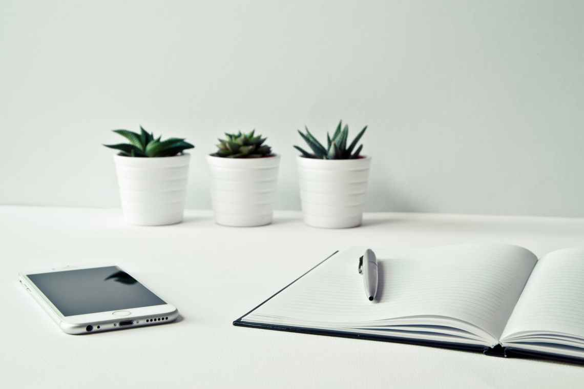 three white ceramic pots with green leaf plants near open notebook with click pen on top